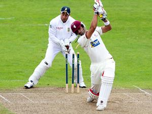 Mark Boucher is hit by a flying bail