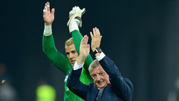 Roy Hodgson and Joe Hart clap England fans - PA