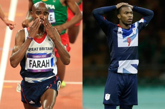 Mo Farah and Daniel Sturridge - PA