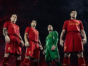 The 2012/13 Liverpool home kit by Warrior (Warrior)