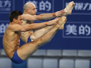 Pete Waterfield and Tom Daley (AP Photo-Vincent Thian)