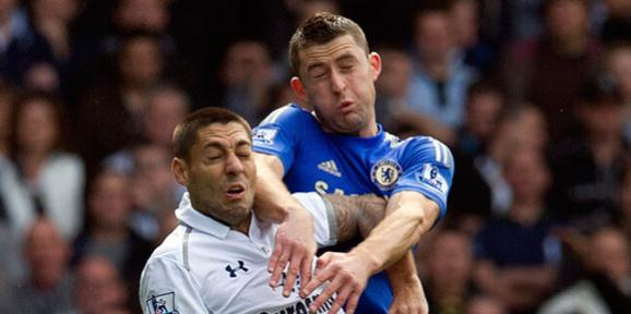 Gary Cahill and Clint Dempsey (AP Photo-Tom Hevezi)