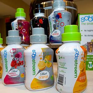 Bottles of SodaStream flavors (© Frances Roberts/Alamy)