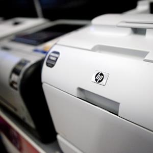 A Hewlett-Packard Co. LasetJet CP2025dn printer sits on display at an Office Depot store in Arlington, Virginia (© Andrew Harrer/Bloomberg via Getty Images)