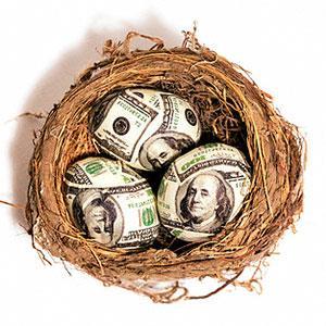 Eggs made of $100 bills in nest © Brian Hagiwara/Brand X/Corbis