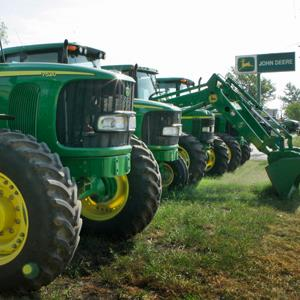 John Deere equipment stands ready for sale