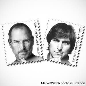 MarketWatch photo illustration of Steve Jobs stamp