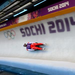 Maciej Kurowski (Pol.) trains for luge team relay during the Sochi 2014 Olympic Winter Games at Sanki Sliding Center. (c) John David Mercer-USA TODAY Sports