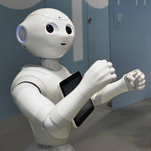Credit: © Framck Robichon /EPA/AlamyCaption: A humanoid robot manufactured by Foxconn