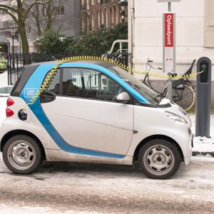 An electric car2go car charges up © Crystal Spires / Alamy