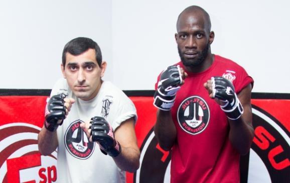 Júnior Lity e Hugo Bilac após treino na academia (Foto: Caroline Leandro/Divulgação)