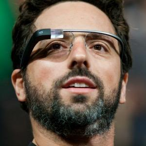 Google co-founder Sergey Brin wears Google Glass in 2012 (c) Corbis/Splash News