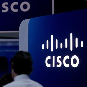 The Cisco logo is seen at the NCTA Cable Show in Washington, DC, on June 11, 2013 (© Andrew Harrer/Bloomberg via Getty Images)