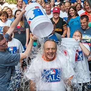Credit: © Jessica Foster/MLB Photos via Getty ImagesCaption: Major League Baseball Chief Operating Officer and Commissioner-elect Rob Manfred participates in the ice bucket challenge along with MLB employees at the MLB Headquarters on Wed., Aug. 20, in New York City