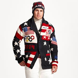 Caption: Ralph Lauren's official uniform for Team USA for the 2014 Winter Olympic games in Sochi, Russia